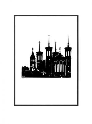 Basilique de Fourvière affiche A4 Lyon
