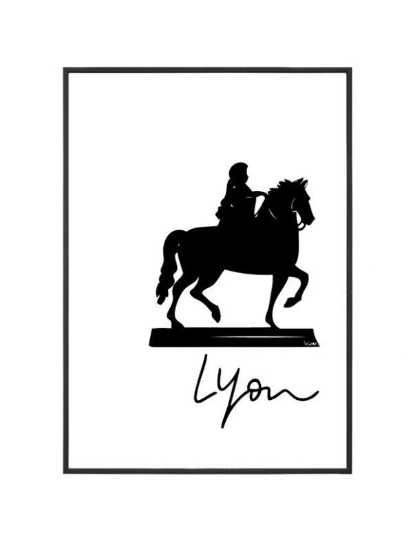 Statut Bellecour affiche A4 encadrée Lyon avec inscription