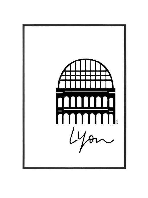 Opéra affiche A4 encadrée Lyon avec inscription