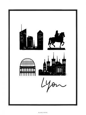 Affiche 30 par 40 de Lyon avec inscription
