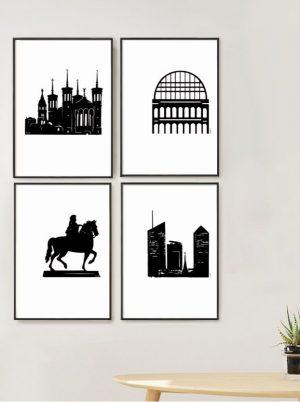 Affiche Lyon Fourvière, Opéra, Bellecour, Part-Dieu encadrées, accrochées au mur