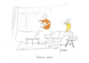 Deux enfants s'amusent sur un canapé dans un salon