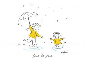 Deux enfants avec un parapluie rigolent sous la pluie