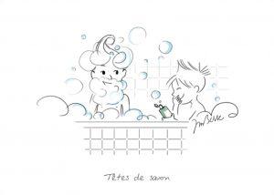 Deux enfants prennent leur bain et font des bulles